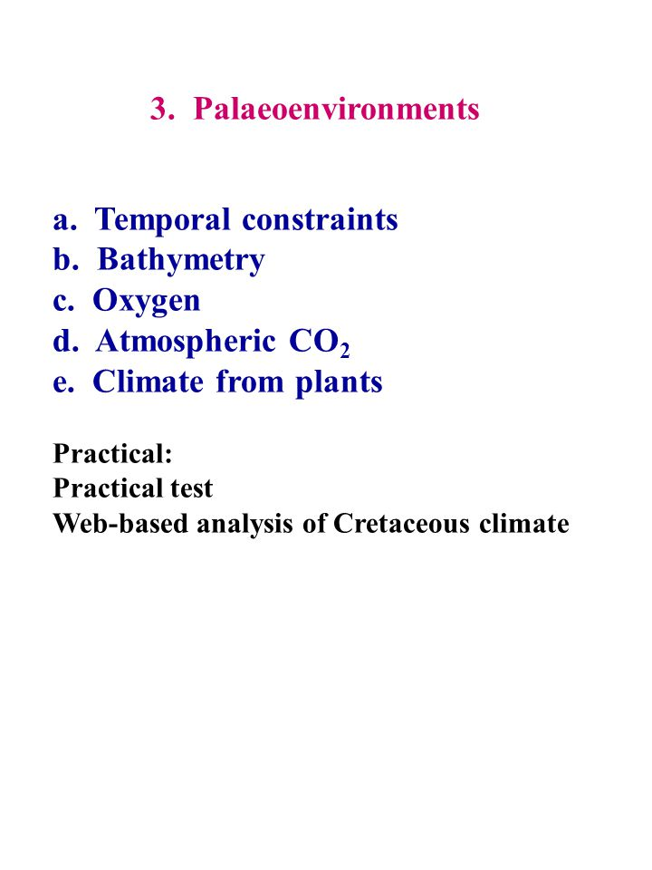 3. Palaeoenvironments a. Temporal constraints b. Bathymetry c. Oxygen d. Atmospheric CO 2 e. Climate from plants Practical: Practical test Web-based a