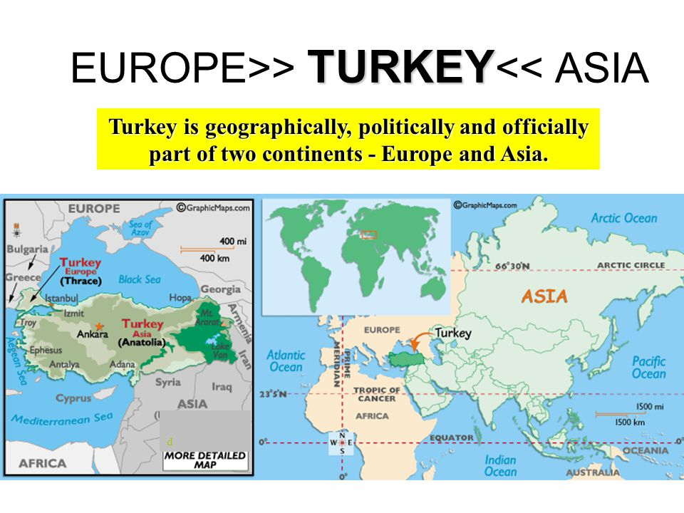 TURKEY EUROPE>> TURKEY << ASIA d Turkey is geographically, politically and officially part of two continents - Europe and Asia.
