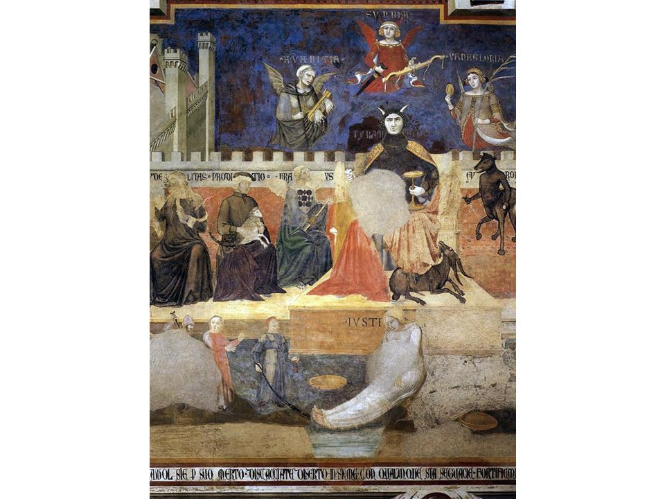 A powerful example of the virtues in operation can be seen from Ambrogio Lorenzetti's allegory of good and bad government, in the Sala dei Nove in the Palazzo Pubblico of Siena, painted between 1337 and 1339.