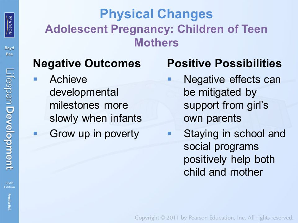 Physical Changes Adolescent Pregnancy: Children of Teen Mothers Negative Outcomes  Achieve developmental milestones more slowly when infants  Grow u