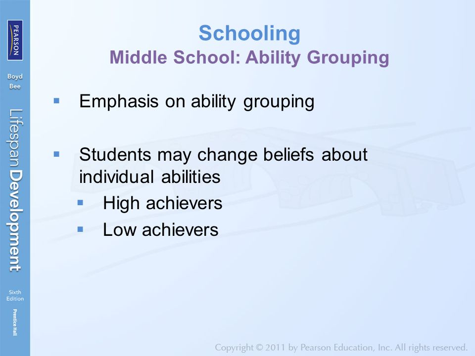 Schooling Middle School: Ability Grouping  Emphasis on ability grouping  Students may change beliefs about individual abilities  High achievers  L