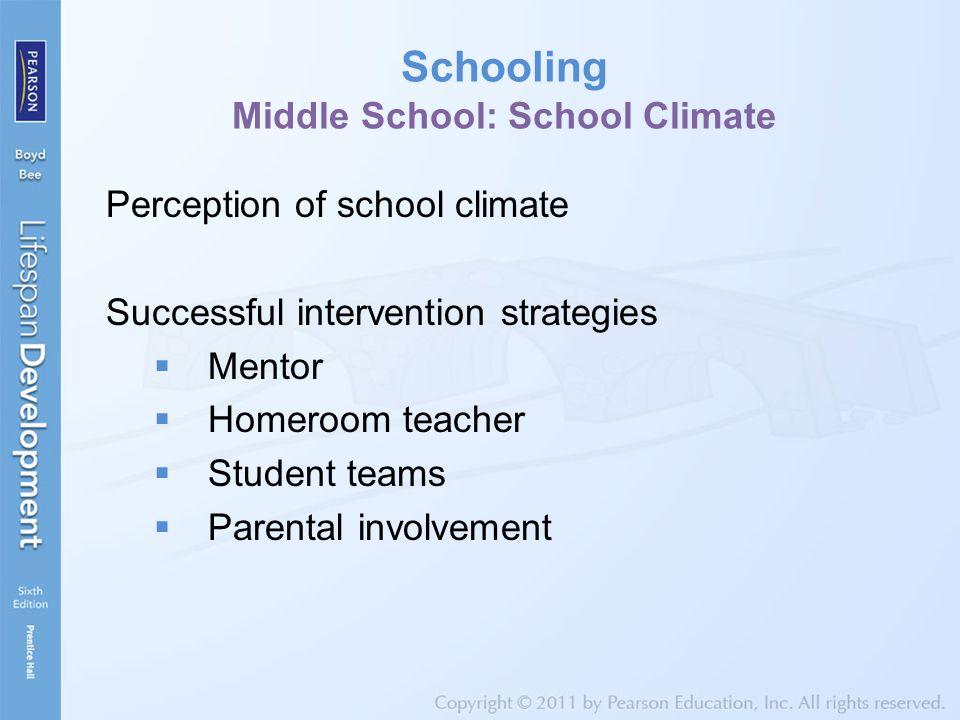 Schooling Middle School: School Climate Perception of school climate Successful intervention strategies  Mentor  Homeroom teacher  Student teams 