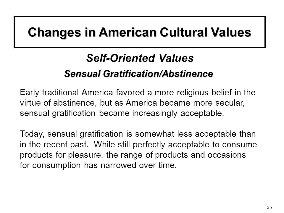 3-10 Changes in American Cultural Values Postponed/Immediate Gratification Self-Oriented Values Americans are seemingly unwilling to delay pleasure.