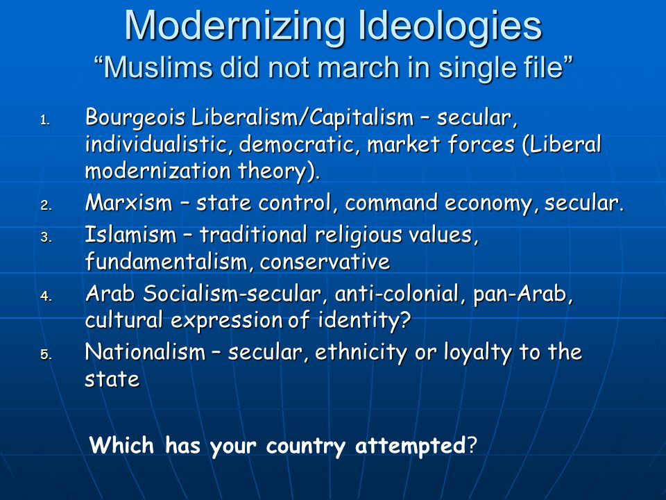 Modernizing Ideologies Muslims did not march in single file 1.