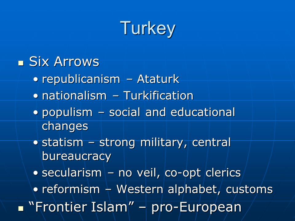 Turkey Six Arrows Six Arrows republicanism – Ataturkrepublicanism – Ataturk nationalism – Turkificationnationalism – Turkification populism – social and educational changespopulism – social and educational changes statism – strong military, central bureaucracystatism – strong military, central bureaucracy secularism – no veil, co-opt clericssecularism – no veil, co-opt clerics reformism – Western alphabet, customsreformism – Western alphabet, customs Frontier Islam – pro-European Frontier Islam – pro-European