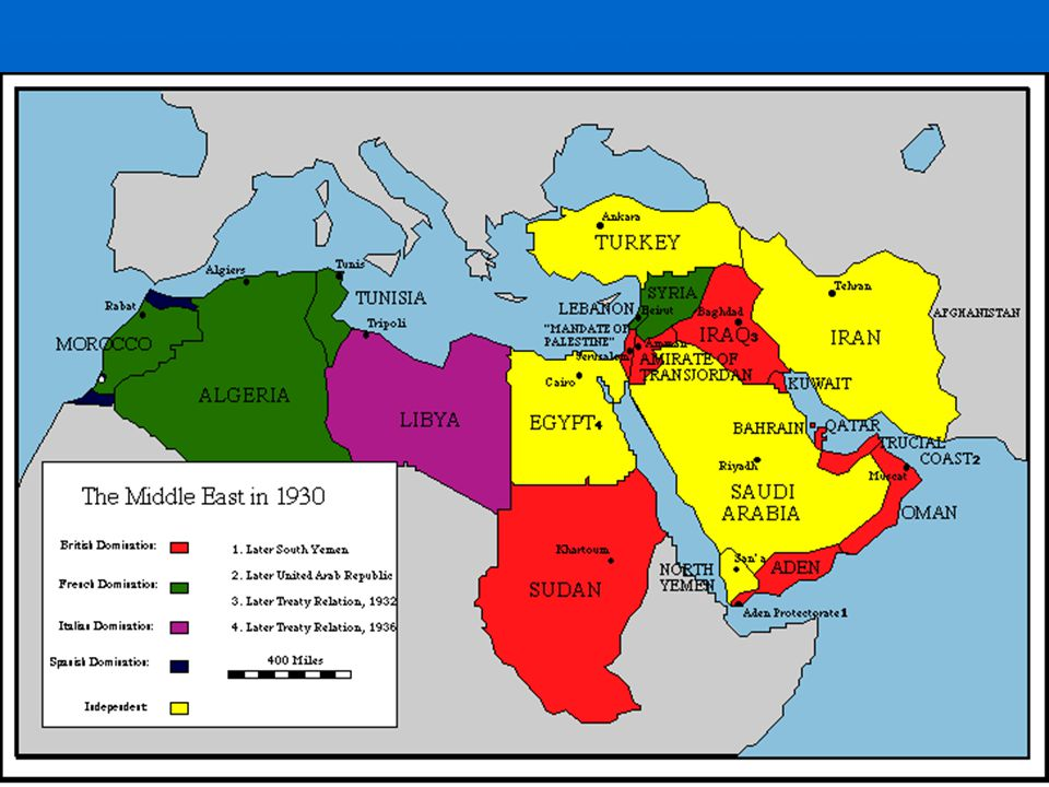 Interwar Period pro-Nazi sympathies – Iran pro-Nazi sympathies – Iran Egypt – independence by degrees. Egypt – independence by degrees. Muslim Brotherhood founded – 1928 Muslim Brotherhood founded – 1928 non-Muslims continued to control many areas in the ME.