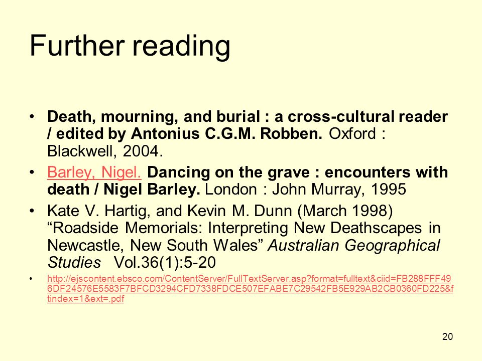 20 Further reading Death, mourning, and burial : a cross-cultural reader / edited by Antonius C.G.M.