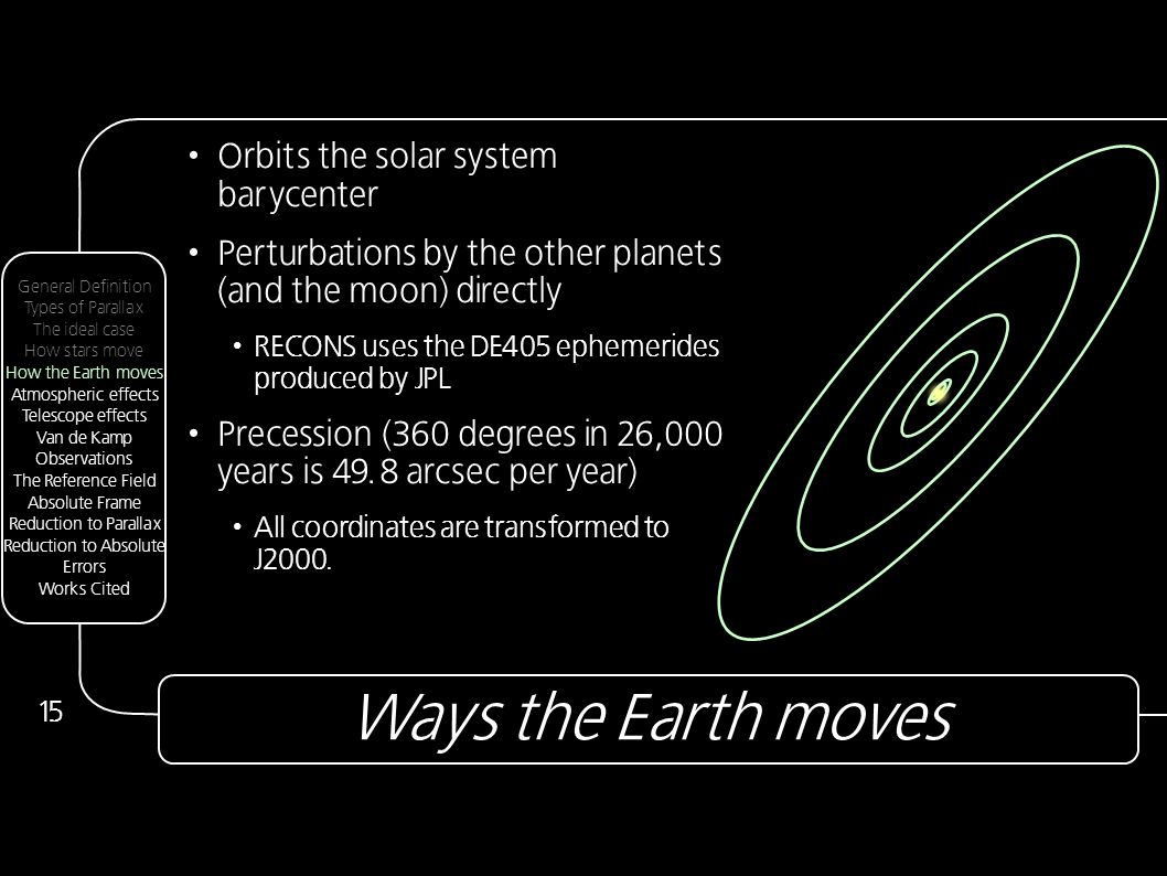 Ways the Earth moves 15 Orbits the solar system barycenter Perturbations by the other planets (and the moon) directly RECONS uses the DE405 ephemerides produced by JPL Precession (360 degrees in 26,000 years is 49.8 arcsec per year) All coordinates are transformed to J2000.