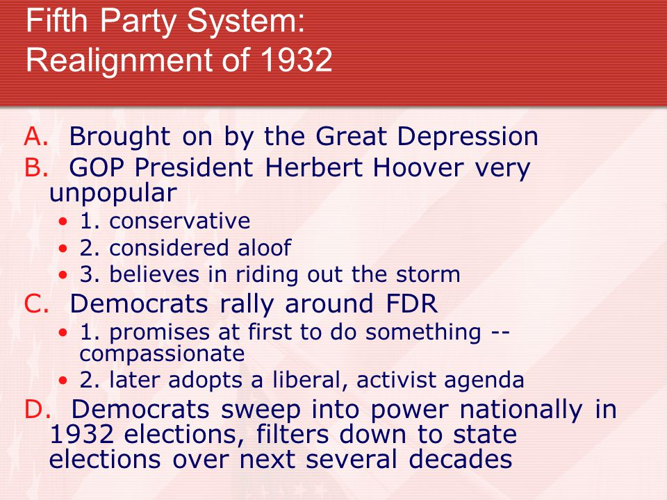 Fifth Party System: Realignment of 1932 A. Brought on by the Great Depression B.