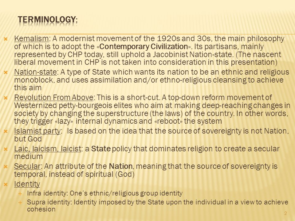 3 An attribute of nation (Source of sovereignty not spiritual but temporal) An attribute of State (State policy to create a secular environment) Anglo-Saxon impact, soft policy because feudalism is already under control.