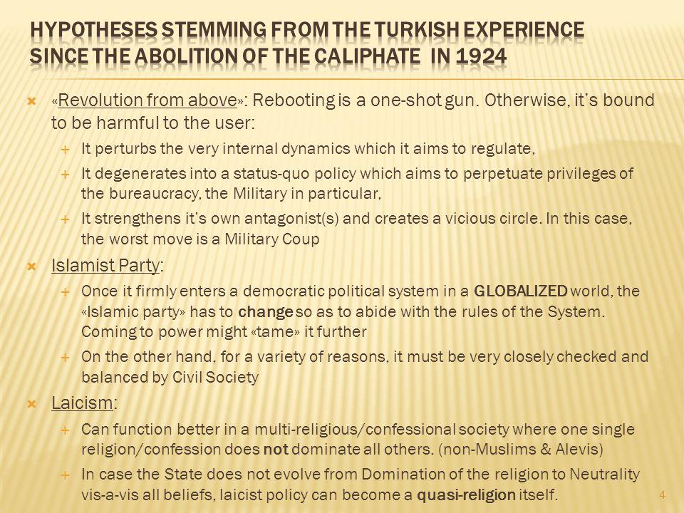 5 Ottoman Empire Kemalist revolution (1920s & 30s) Semi - feudal Empire Nation -state Sultan's SubjectCitizen Umma Nation