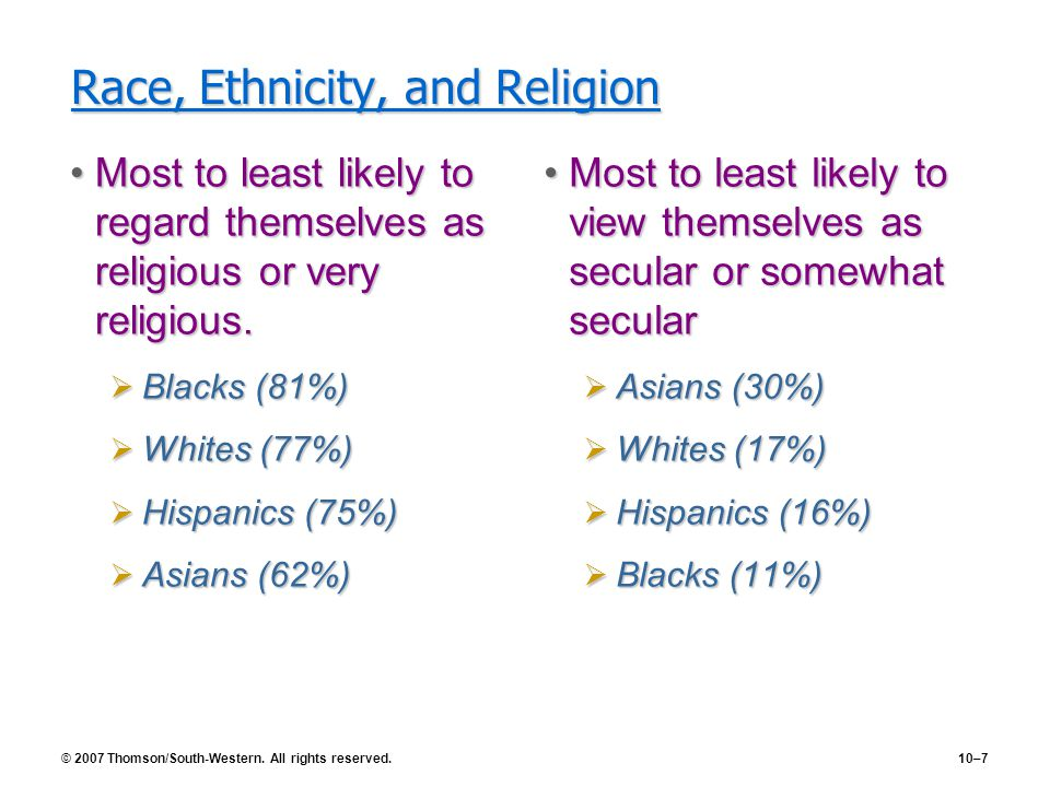 © 2007 Thomson/South-Western. All rights reserved.10–7 Race, Ethnicity, and Religion Most to least likely to regard themselves as religious or very re