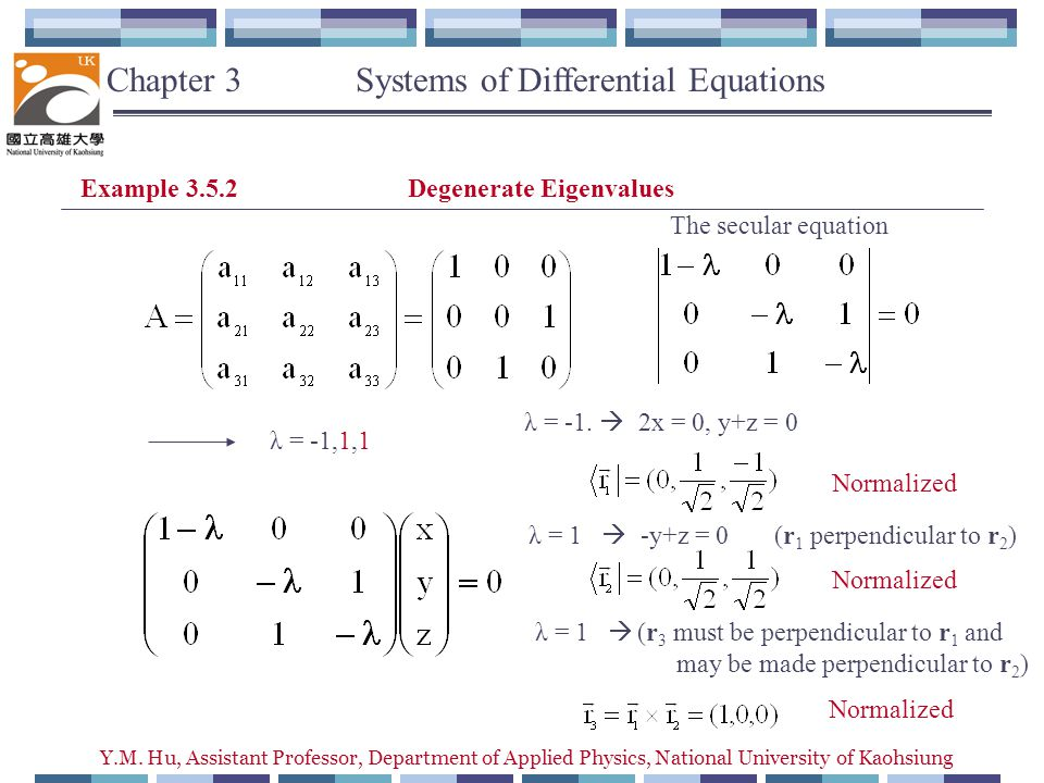 Y.M. Hu, Assistant Professor, Department of Applied Physics, National University of Kaohsiung Example 3.5.2 Degenerate Eigenvalues The secular equatio