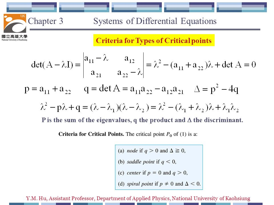 Y.M. Hu, Assistant Professor, Department of Applied Physics, National University of Kaohsiung Chapter 3 Systems of Differential Equations Criteria for