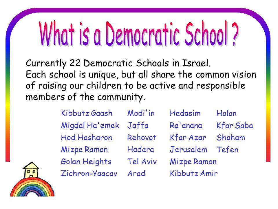 בית הספר הדמוקרטי חברתי סביבתי בזיכרון יעקב Our School is Unique: We are the first and only school that brings together children of diverse religious backgrounds in a democratic environment.