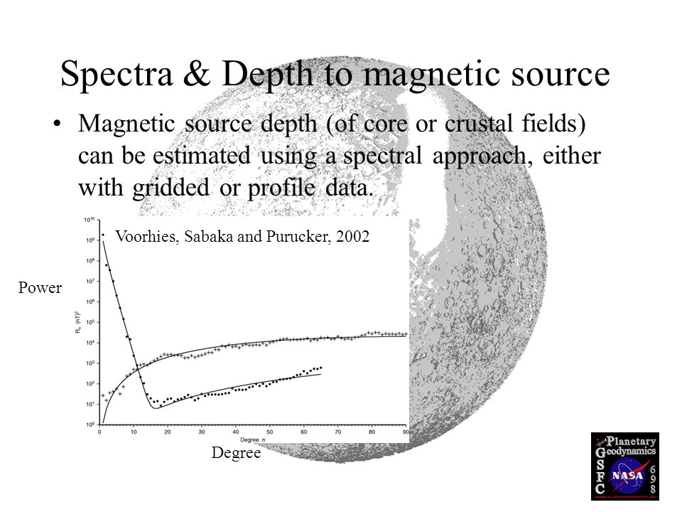Spectra & Depth to magnetic source Magnetic source depth (of core or crustal fields) can be estimated using a spectral approach, either with gridded or profile data.