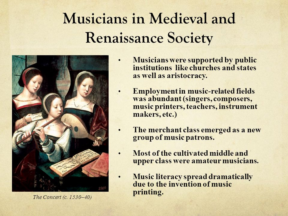 Renaissance Secular Music Instrumental Dance Music The sixteenth century was a time of growth in instrumental music, resulting from the invention of music printing Books of dance music were published for solo instruments and small ensembles Instrumentation was not specified but was chosen according to the occasion—loud ( haut ) instruments for outdoor occasions and soft ( bas ) instruments for indoors.