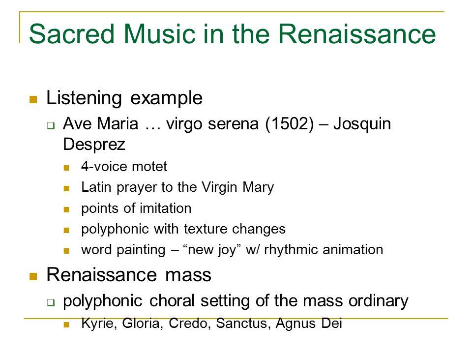 Sacred Music in the Renaissance Giovanni Pierluigi da Palestrina (ca.
