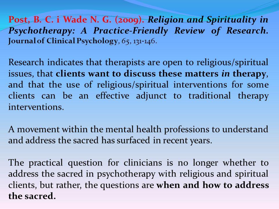 Post, B. C. i Wade N. G. (2009).
