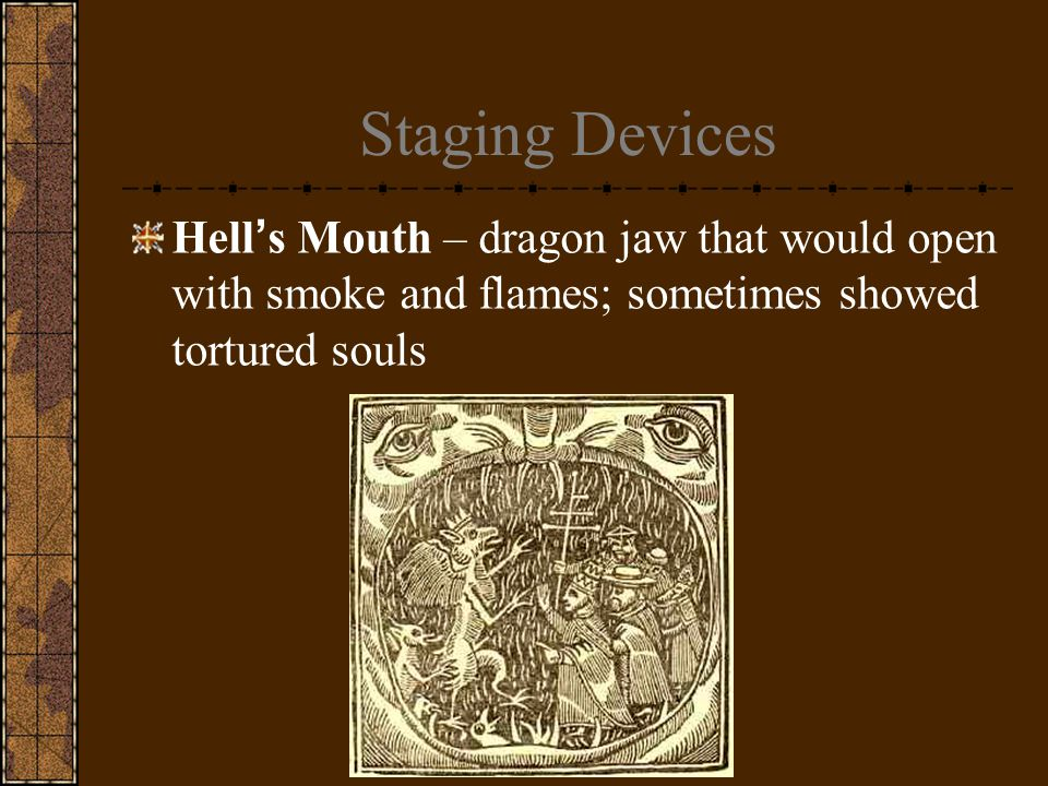 Staging Devices Hell's Mouth – dragon jaw that would open with smoke and flames; sometimes showed tortured souls