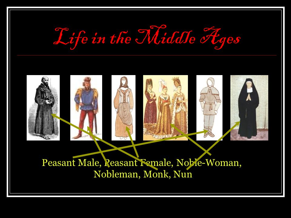 Life in the Middle Ages Peasant Male, Peasant Female, Noble-Woman, Nobleman, Monk, Nun
