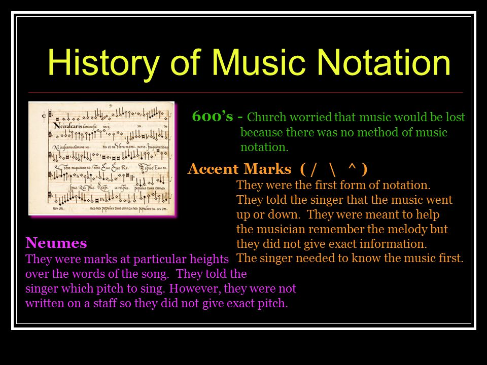 History of Music Notation 600's - Church worried that music would be lost because there was no method of music notation. Accent Marks ( / \ ^ ) They w