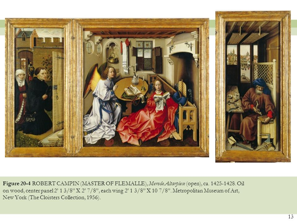 "Figure 20-4 ROBERT CAMPIN (MASTER OF FLEMALLE), Merode Altarpiece (open), ca. 1425-1428. Oil on wood, center panel 2' 1 3/8"" X 2' 7/8"", each wing 2' 1"