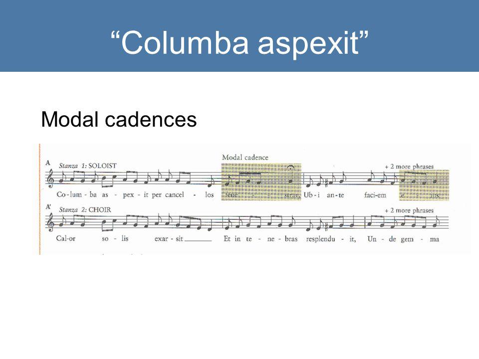 Columba aspexit Modal cadences