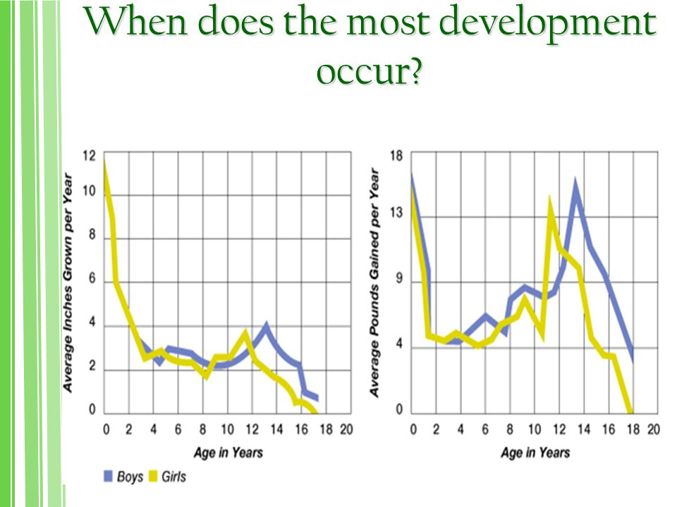 When does the most development occur?