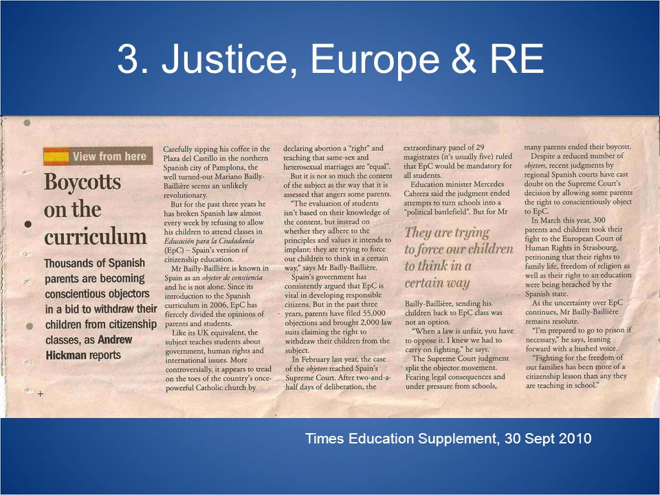 3. Justice, Europe & RE Times Education Supplement, 30 Sept 2010