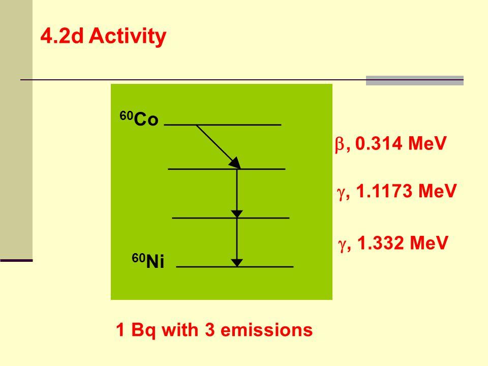 60 Co 60 Ni , 0.314 MeV , 1.1173 MeV , 1.332 MeV 1 Bq with 3 emissions 4.2d Activity