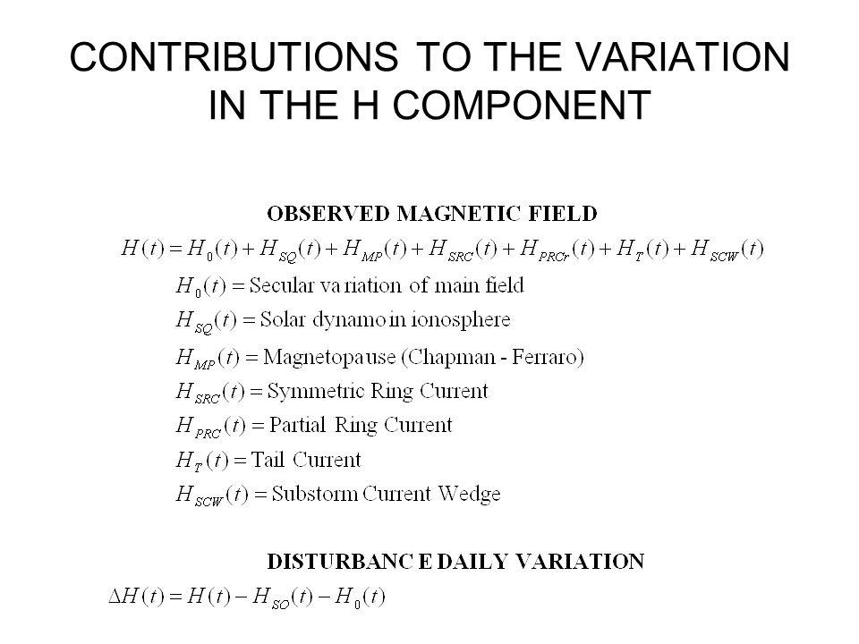 CONTRIBUTIONS TO THE VARIATION IN THE H COMPONENT