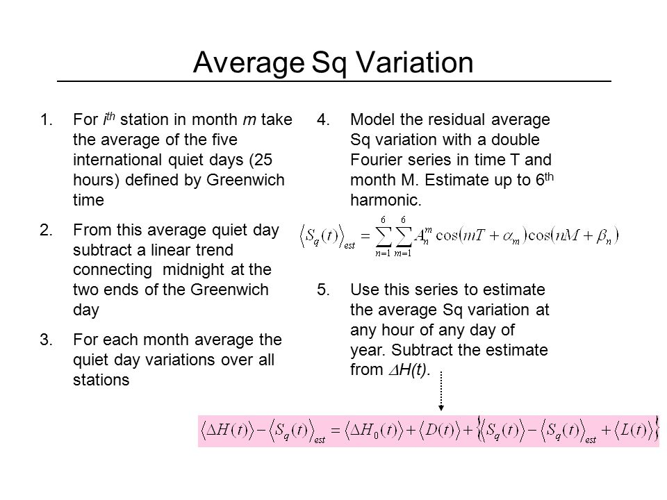 Average Secular Variation 1.Plot the residual variation versus time.
