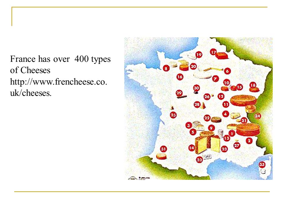 France has over 400 types of Cheeses http://www.frencheese.co. uk/cheeses.