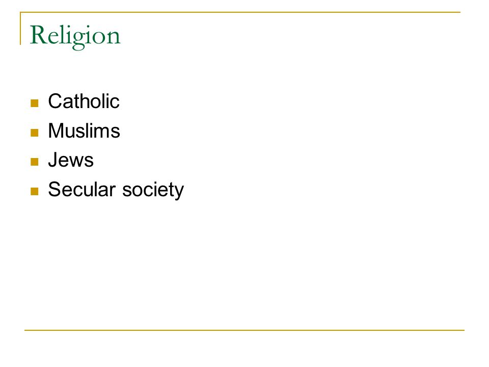 Religion Catholic Muslims Jews Secular society