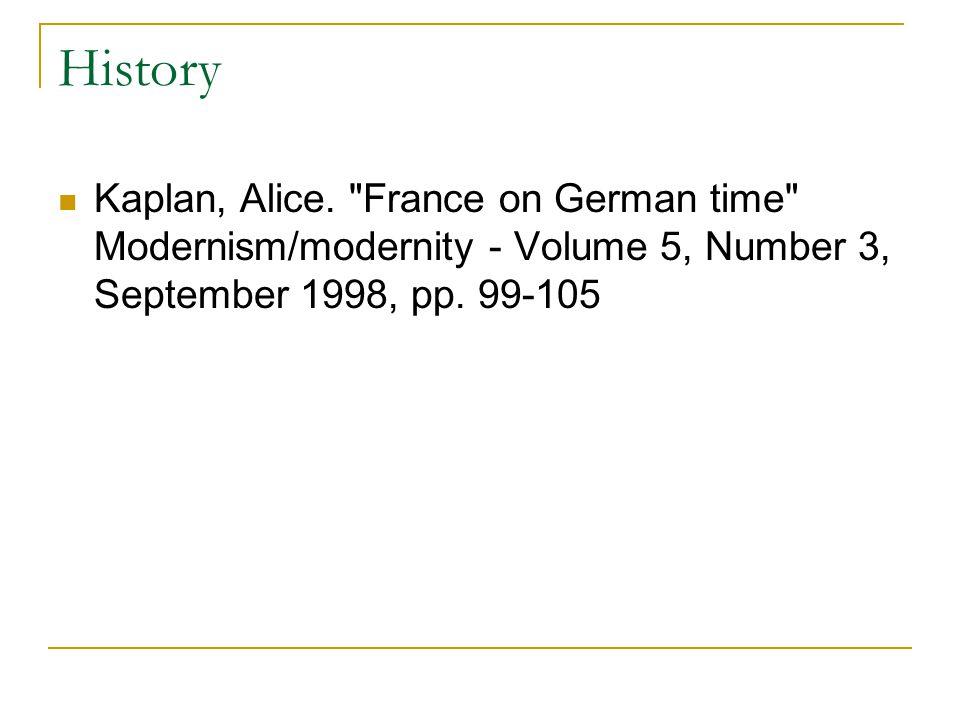 History Kaplan, Alice.