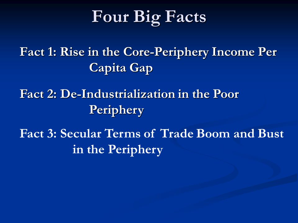 Four Big Facts Fact 1: Rise in the Core-Periphery Income Per Capita Gap Fact 1: Rise in the Core-Periphery Income Per Capita Gap Fact 2: De-Industrialization in the Poor Periphery Fact 2: De-Industrialization in the Poor Periphery Fact 3: Secular Terms of Trade Boom and Bust in the Periphery
