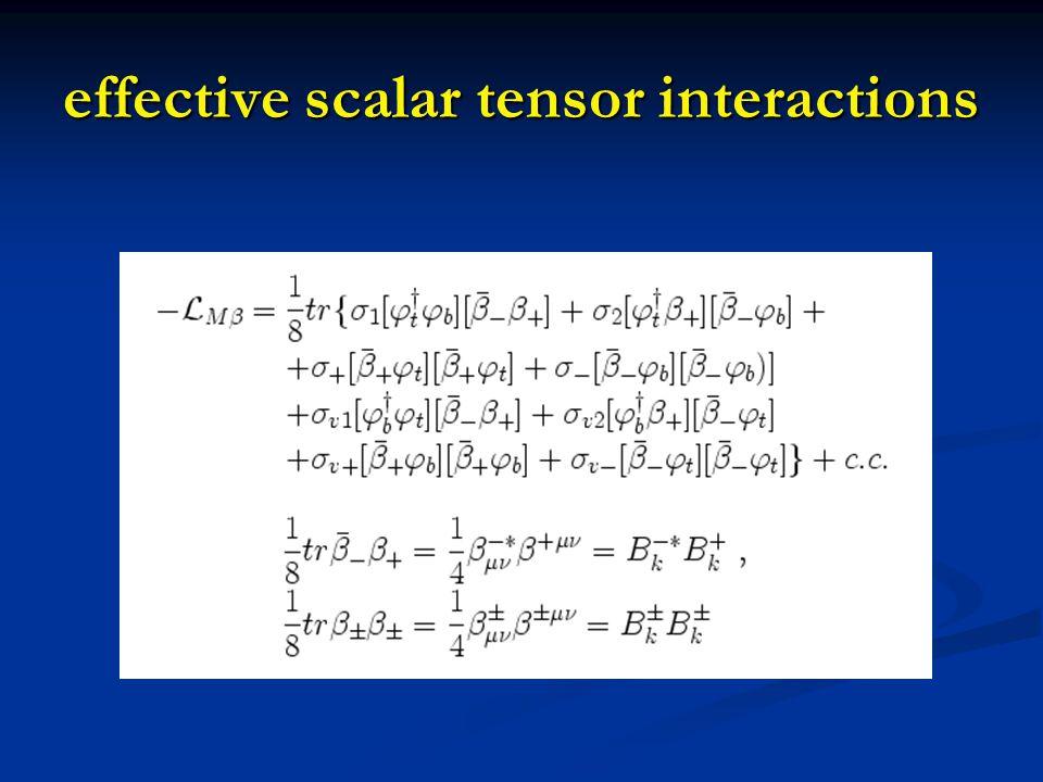 effective scalar tensor interactions