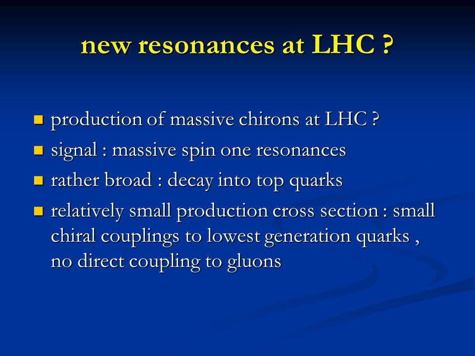new resonances at LHC . production of massive chirons at LHC .