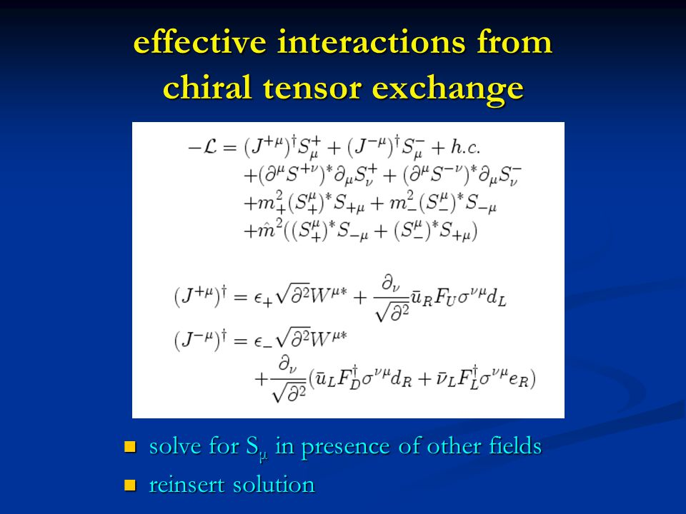 effective interactions from chiral tensor exchange solve for S μ in presence of other fields solve for S μ in presence of other fields reinsert solution reinsert solution