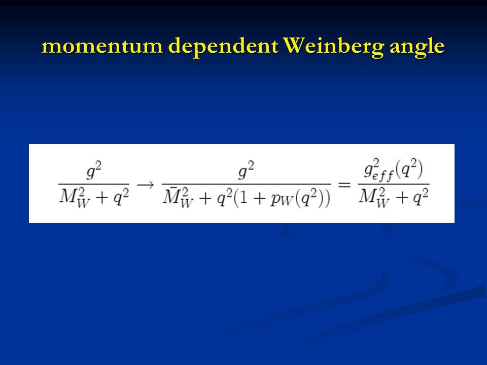 momentum dependent Weinberg angle