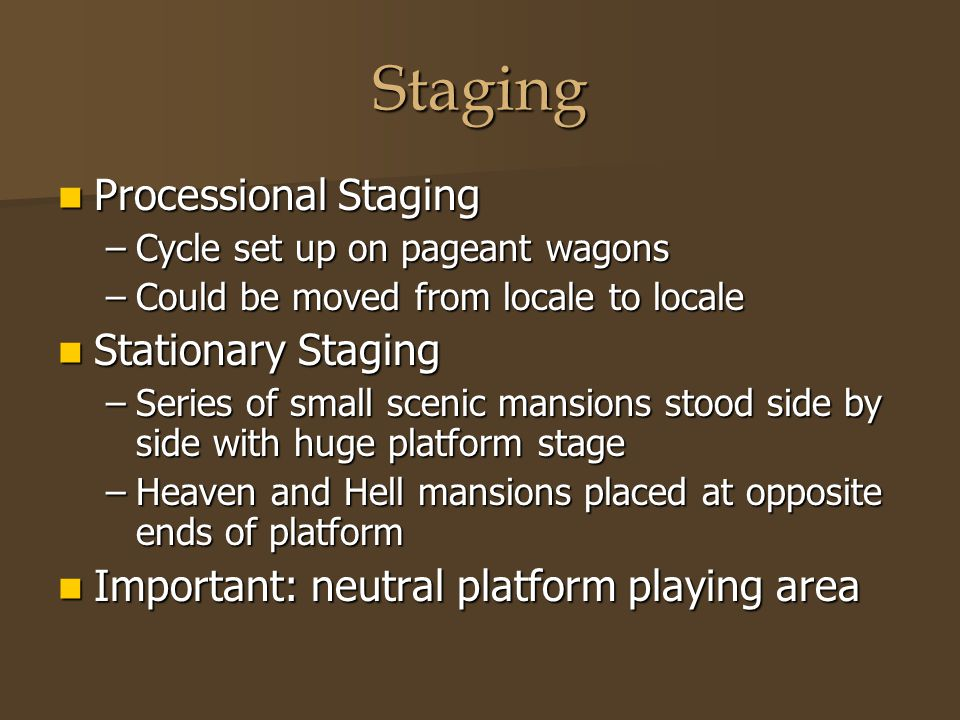 Staging Processional Staging Processional Staging –Cycle set up on pageant wagons –Could be moved from locale to locale Stationary Staging Stationary