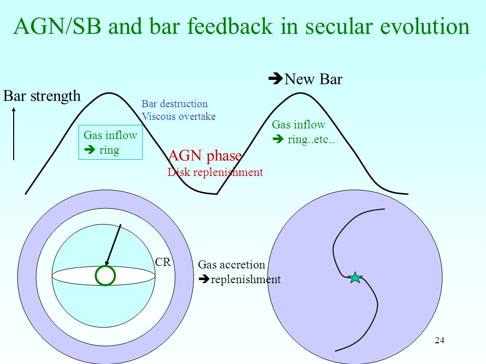 24 AGN/SB and bar feedback in secular evolution Bar strength Gas inflow  ring Bar destruction Viscous overtake AGN phase Disk replenishment  New Bar Gas inflow  ring..etc..
