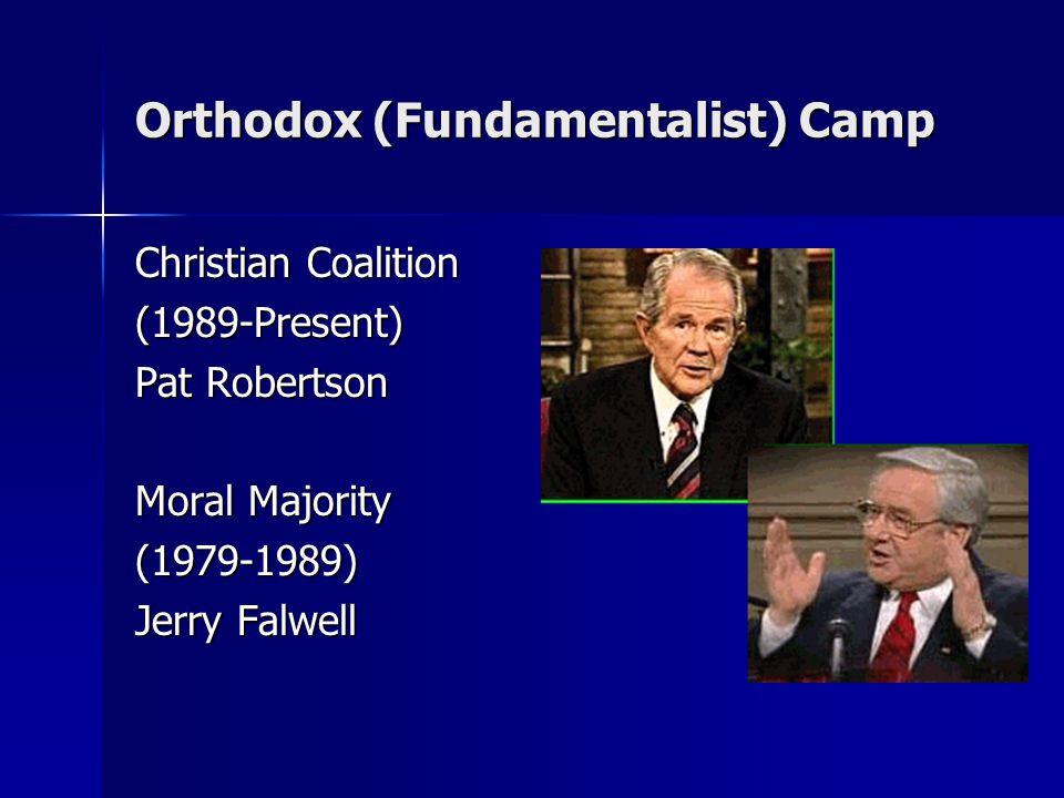 Orthodox (Fundamentalist) Camp Christian Coalition (1989-Present) Pat Robertson Moral Majority (1979-1989) Jerry Falwell