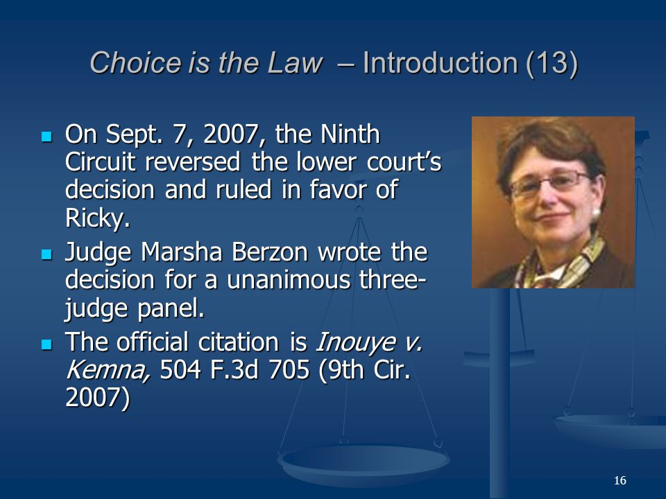 16 Choice is the Law – Introduction (13) On Sept.