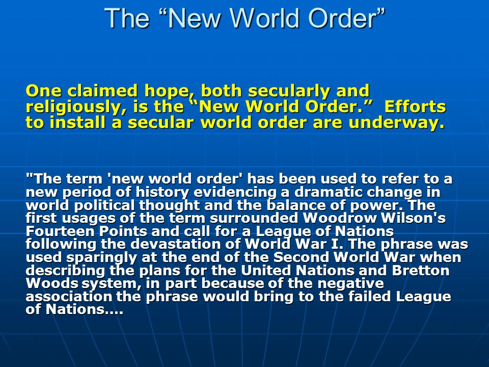 The New World Order In retrospect however, many commentators have applied the term retroactively to the order put in place by the WWII victors as a new world order. The most recent, and most widely discussed, application of the phrase came at the end of the Cold War.