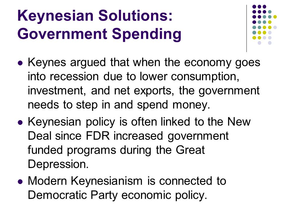 Keynesian Solutions: Government Spending Keynes argued that when the economy goes into recession due to lower consumption, investment, and net exports