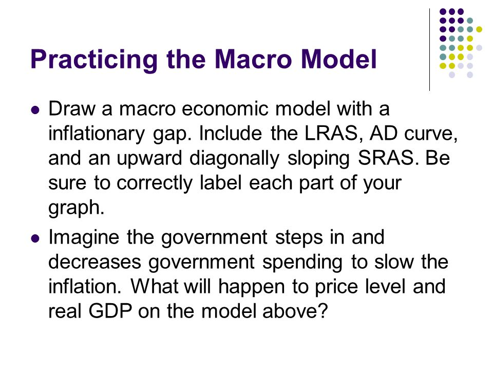 Practicing the Macro Model Draw a macro economic model with a inflationary gap. Include the LRAS, AD curve, and an upward diagonally sloping SRAS. Be