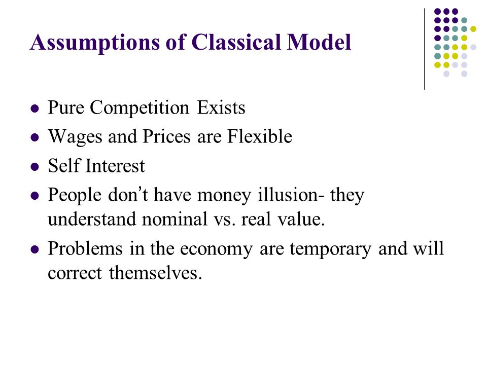 Assumptions of Classical Model Pure Competition Exists Wages and Prices are Flexible Self Interest People don't have money illusion- they understand n