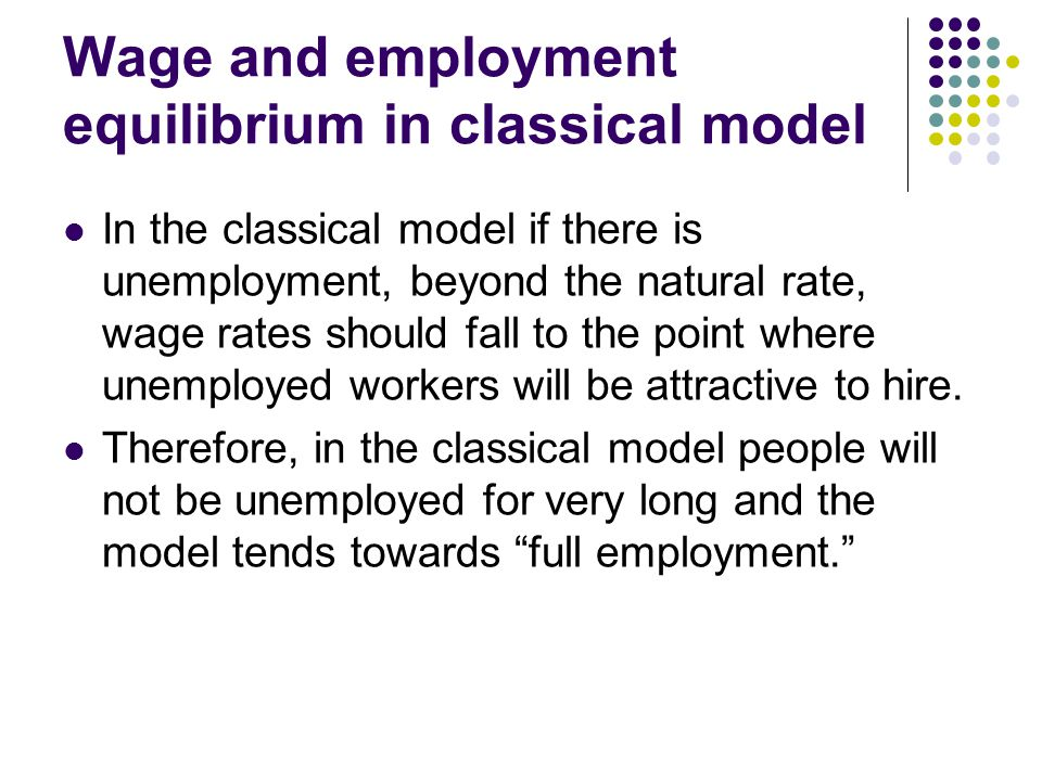 Wage and employment equilibrium in classical model In the classical model if there is unemployment, beyond the natural rate, wage rates should fall to